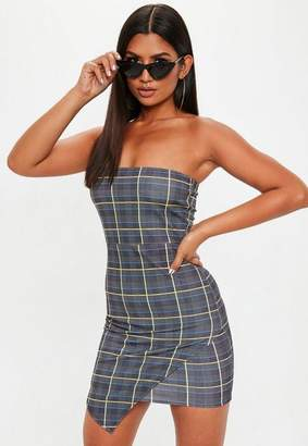 Missguided Gray Bandeau Asymmetric Heritage Plaid Mini Dress