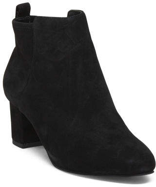 Block Heel Kid Suede Ankle Booties