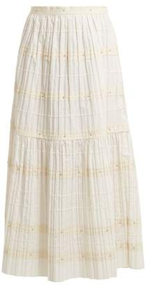 RED Valentino Rickrack Trimmed Pleated Cotton Skirt - Womens - White
