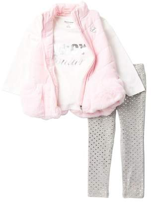Juicy Couture Faux Fur Puffer Vest, Top, & Leggings Set (Toddler Girls)