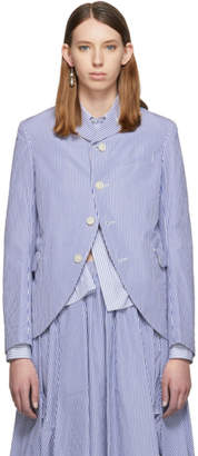Comme des Garcons Blue and White Striped Blazer