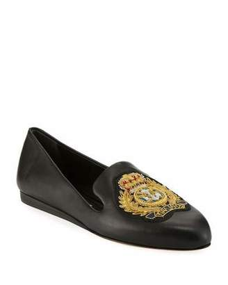 Veronica Beard Griffin Patch Flat Napa Leather Slip-On Loafers