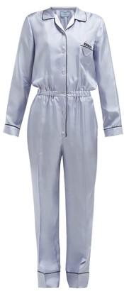 57c9d3e0b134 Prada Logo Patch Silk Satin Jumpsuit - Womens - Blue Multi