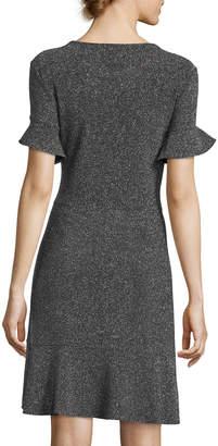 Label By 5twelve Double-Ruffle Short-Sleeve Glitter A-Line Dress