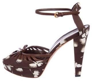 Gucci Leather Peep-Toe Platform Sandals