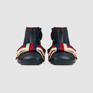 Gucci Toddler leather boot with Sylvie bow