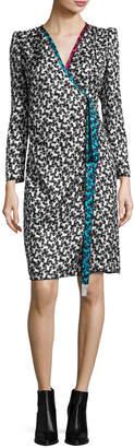 Marc Jacobs Printed Long-Sleeve Wrap Dress, White