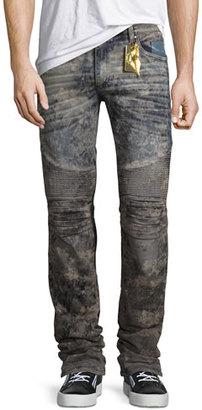 Robin's Jeans Flap-Pocket Slim-Fit Biker Jeans, Gray $445 thestylecure.com