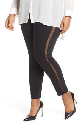 Hue High Waist Mesh Tuxedo Stripe Denim Leggings (Plus Size)