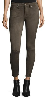 7 For All Mankind Knee-Seam Sueded Skinny Jeans, Olive $199 thestylecure.com