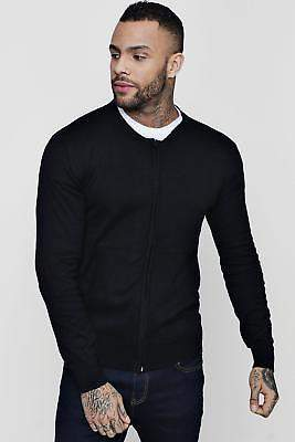 boohoo Mens Knitted Zip Through Bomber
