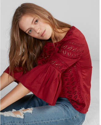 Express Eyelet Lace Flutter Sleeve Top $59.90 thestylecure.com