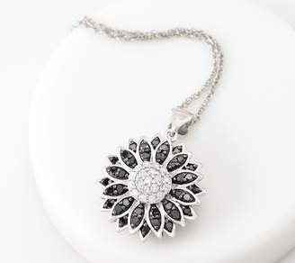 Affinity Diamond Jewelry Affinity Sterling Silver Colored Diamond Flower Necklace