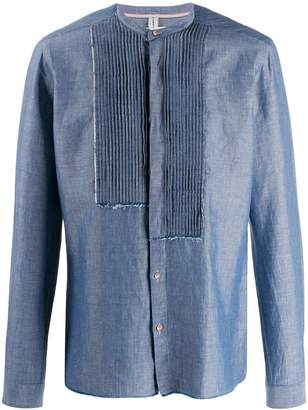 Leqarant pleated front mandarin collar shirt