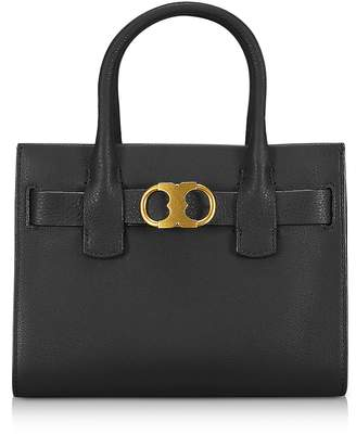 Tory Burch Gemini Link Black Leather Small Tote Bag