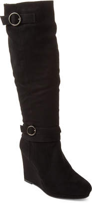 Wild Diva Lounge Black Cassia Wedge Knee-High Boots