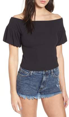 Love, Fire Rib Knit Off the Shoulder Top