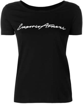 Emporio Armani cropped logo T-shirt