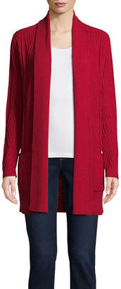 ST. JOHN'S BAY Womens Long Sleeve Open Front Cardigan