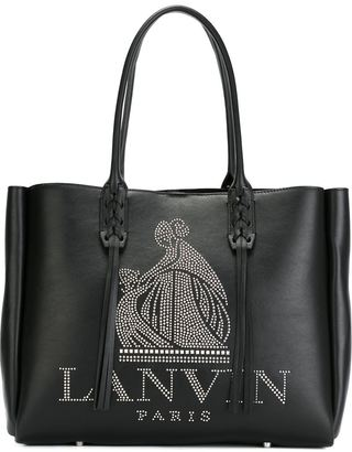 Lanvin studded logo fringed tote $1,850 thestylecure.com