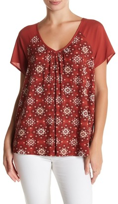 Pleione Short Sleeve Print Knit Mixed Media Blouse $48 thestylecure.com