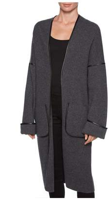 Magaschoni Contrast Leather Piping Coat