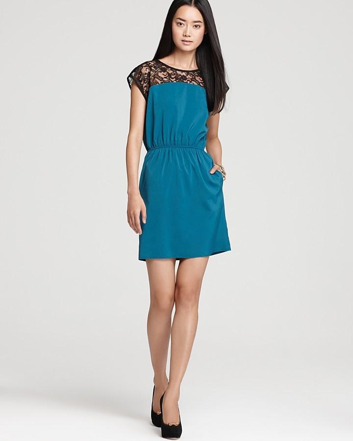 Aqua Dress - Lace Blocked