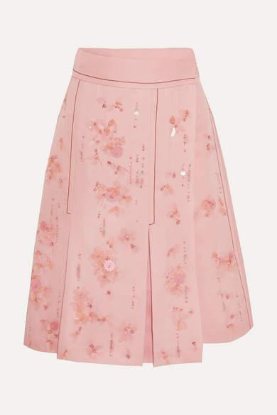 Prada - Embellished Pleated Silk-crepe Wrap Skirt - Pink