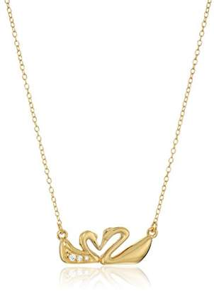 18k Gold Plated Sterling Silver White Cubic Zirconia Kissing Swans Heart Necklace