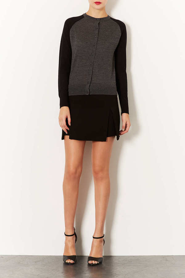 Topshop Knitted Merino Contrast Cardi