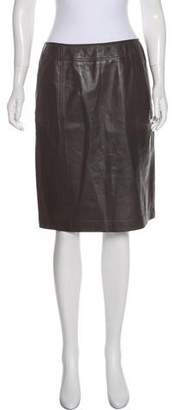 Ellen Tracy Linda Allard Leather Knee-Length Skirt