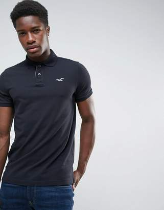 Hollister Polo Tipped Pique Icon Logo Slim Fit in Black