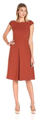 Lark & Ro Women's Cap Sleeve Inverted Pleat Midi Dress