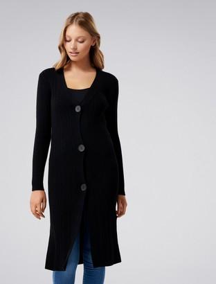 Forever New Elora Button-Up Longline Cardigan - Black. - xxs