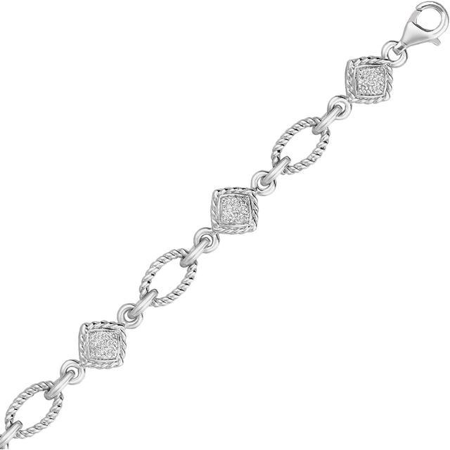 Ice Sterling Silver Cable Oval and Square Link Bracelet with Diamonds