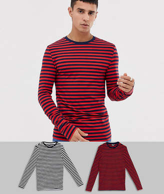 Asos DESIGN muscle fit long sleeve stripe t-shirt in organic cotton 2 pack black/white navy/red