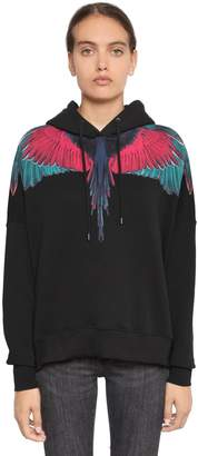 Marcelo Burlon County of Milan Wings Print Hooded Cotton Sweatshirt