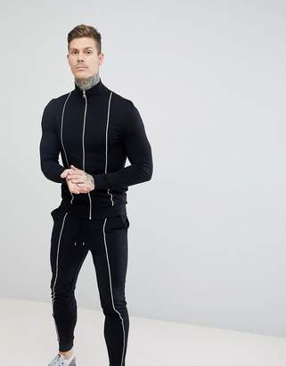 Asos DESIGN tracksuit muscle track jacket/super skinny joggers with piping in black
