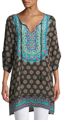 Tolani Sanaya Medallion-Print Easy Tunic/Dress