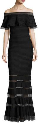 Tadashi Shoji Off-the-Shoulder Trapunto Evening Gown, Black $395 thestylecure.com