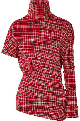 Calvin Klein Asymmetric Prince Of Wales Checked Cady Turtleneck Top - Brick