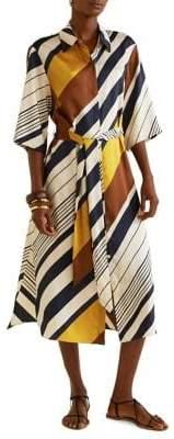 MANGO Printed Striped Shirt Dress