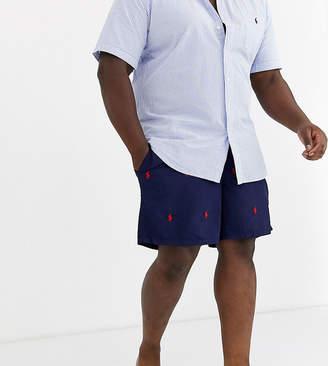 Polo Ralph Lauren Big & Tall Traveler all over player logo swim shorts in navy