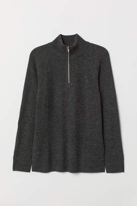 H&M Ribbed Stand-up Collar Sweater - Black