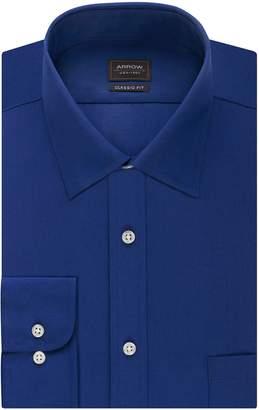 Arrow Men's Poplin Regular Fit Solid Spread Collar Dress Shirt