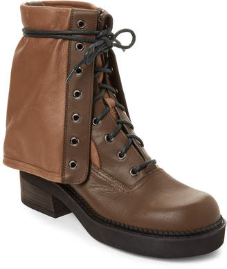 See by Chloe Dark Green Foldver Lace-Up Leather Boots