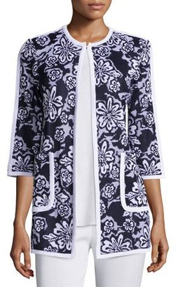 Misook Floral-Print 3/4-Sleeve Jacket, Plus Size $488 thestylecure.com