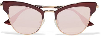 Le Specs - Ashanti Cat-eye Acetate And Gold-tone Mirrored Sunglasses - Burgundy $120 thestylecure.com