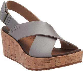 f5790f058b1 Clarks Leather Cross Band Wedge Sandals - Stasha Hale