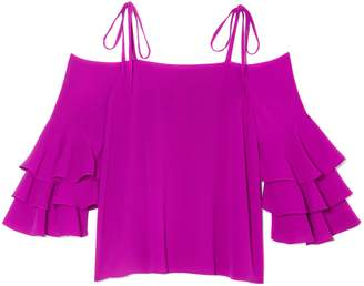 Vince Camuto Cold-shoulder Ruffle-sleeve Top